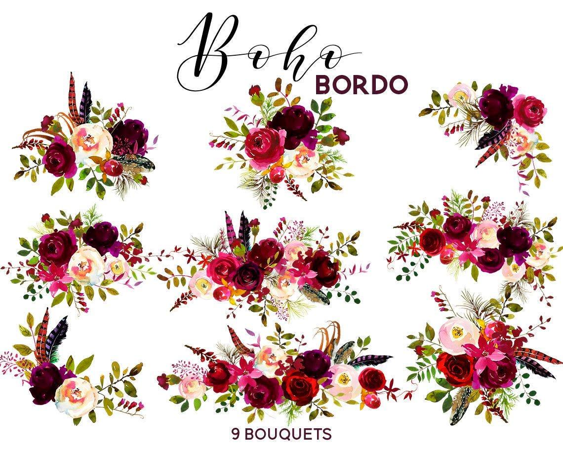 Boho Bordo Watercolor Clipart Burgundy White Red Flowers Deer Scull Horns Antlers Wedding