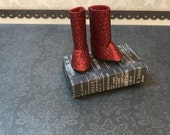Blythe Doll ugg style boots  longer length  red glitter boots for Blythe