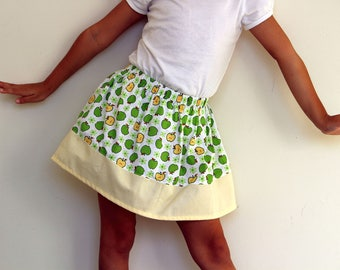Granny Smith skirt/Green apple and custard/Classical skirt/Cotton skirt/Kids wear/Fruit pattern/Party wear