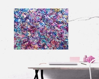 Boho Decor Encaustic Painting, Multicolor Abstract Painting, Purple, Pink 18x24 Painting, Contemporary Wall Art, Expressionist Style