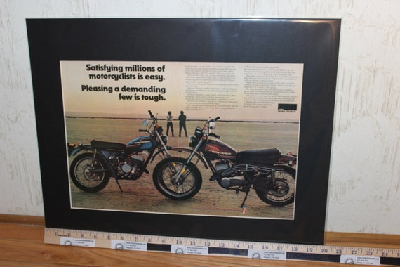 """1975 Harley-Davidson SX250 & SX175 Motorcycles 16"""" x 20"""" Matted Ad #d75ca09m"""