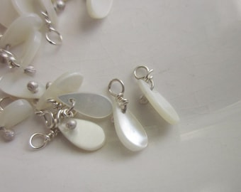 38 Handmade Drops, Flat Mother-of-Pearl Teardrop on Sterling Wire, 8mm x 4mm