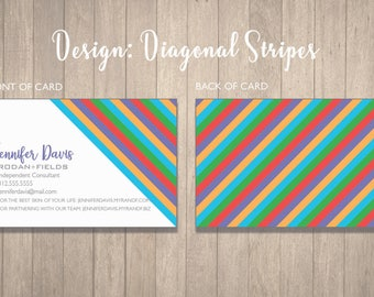 Rodan and Fields Business Cards Design - Digital or Print Option - Diagonal Stripes