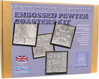 Embossed Pewter Coaster Kit