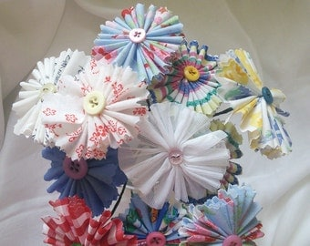 Jaunty fabric flower bouquet, shabby chic flowers, faux flowers, button flower bouquet, cotton, net, wedding flowers, floral, gingham