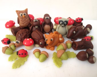 Marzipan Woodland Animals (8) & Woodland Decorations (30)- 3D fondant woodland animals sugar woodland creatures- edible woodland cake topper