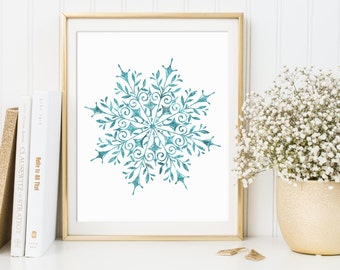 Christmas Printable, Snowflake Print, Christmas Ornaments, Christmas Gifts, Winter Artwork, Christmas Decoration, Christmas Print, Glitter
