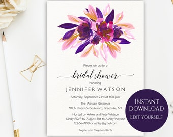 Bridal Shower Invitation Template, Bridal Shower Invitation, Purple, Instant Download, Invitations Cheap, Printable Invite, Editable PDF