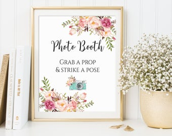 Photo Booth Sign, Wedding Photo Booth, Photo Booth Printable, Grab A Prop, Strike A Pose, Printable Wedding Sign, Wedding Photobooth, C1