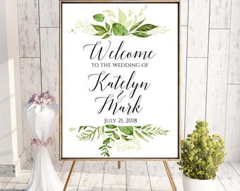 Welcome To Our Wedding, Welcome Wedding Sign, Printable Welcome Sign, Welcome Sign, Custom Welcome Sign, Greenery Wedding, Digital, Green
