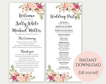 Wedding Program, Ceremony Program, Wedding Program Template, Printable Wedding Programs, Floral Wedding Program, PDF Download, Editable, C1