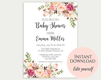 Baby Shower Invitation Template, Baby Shower Invite, Baby Shower Printable,  Floral Baby Shower