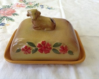 Hand Made and Hand Painted Clay Dish With Cover With Nice Little Cow. For Cheese Or Butter Or Cut Lemon.