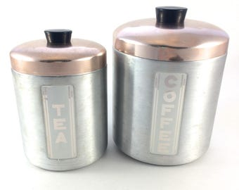 Mid Century Modern Canister Set - Aluminum Canisters - Coffee Canister - Tea Canister - Coffee Can - Coffee and Tea Canister -Chrome Kitchen