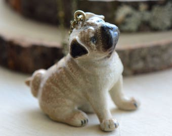 Hand Painted Porcelain Pug Puppy Dog Necklace, Antique Bronze Chain, Vintage Style, Ceramic Animal Pendant & Chain (CA068)