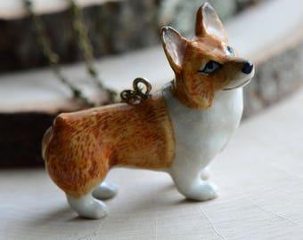 Hand Painted Porcelain Corgi Dog Necklace, Antique Bronze Chain, Vintage Style, Ceramic Animal Pendant & Chain (CA044)