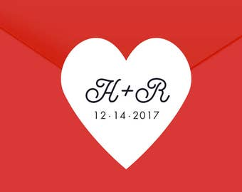 Custom Stickers with Initials and Wedding Date, Hearts Stickers, Envelope Seals, Custom Wedding Stickers, Save the Date Stickers, SET OF 24