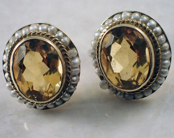 14K Yellow Gold Citrine Seed Pearl Earrings