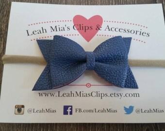 Navy Blue Faux Leather Bow on White or Nude Nylon Elastic Headband | Vegan leather baby headband | Baby Shower Gift | Infant Headband