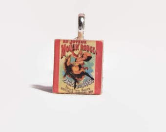 Vintage Moulin Rouge Movie Poster Charm Key Chain or Necklace