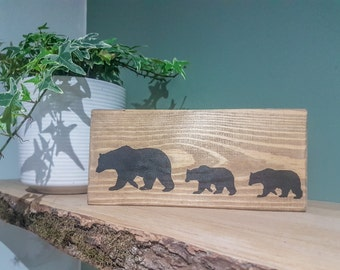 Mother Bear and Cubs, Handmade, Recycled Pallet Wood, Wall Sign, Wall Art, Wildlife Art