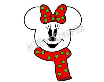 Snowman Minnie Head svg dxf pdf studio jpg, Christmas svg dxf pdf studio jpg