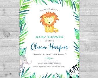 Safari Baby Shower Invitation, Jungle Baby Shower Invitation, Lion Baby Shower Invitation Safari Gender Neutral Baby Shower Invitations Coed