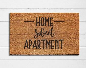 "Home Sweet Apartment Doormat | Welcome Mat | Door Mat | Outdoor Rug | Coir Mat | Apartment Decor | Housewarming Gift | 18x30"""