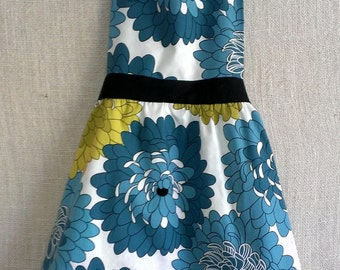 Reversible Adult Retro Apron or Child Retro Apron with Teal Blue and Green Flowers