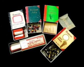 VINTAGE: 5 Dennison Matchbox Books - Glassine Envelopes - Gummed Labels - Pins - Key Tags - (14-D1-00007426)