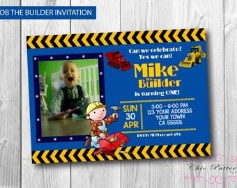 Bob the Builder Invitation - Construction Invitation - Birthday Party - Digital Invitation - 4x6 or 5x7 - Personalized Invitation Card