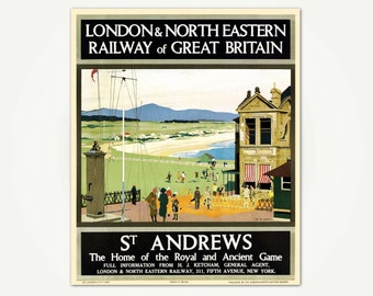 St. Andrews Vintage Scotland Golf Travel Poster Print