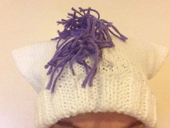 White Pony Hat - Hand-Knit Hat with Ears and Fringe - My Little Pony Rarity