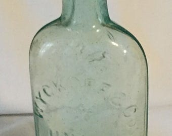 Antique Wyckoff & Co Union Bluing Aqua Bottle