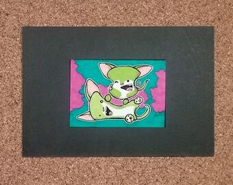 Wrasslin'! Marshmallow Chihuahuas, Ready-to-Frame ACEO