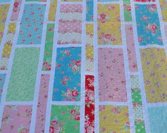 Flower sugar finished quilt - single bed size