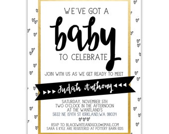 Modern Black, White, & Gold Printed Baby Shower Invitation with Monochrome Tiny Sketch Hearts