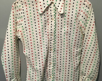 Vintage 1970s Bonne Belle White Polka Dot Button Up Shirt with Peter Pan Collar Size 11/12