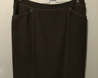 Vintage 1980s Lana Lee Brown Polyester Skirt with Contrast Stitching - Size 12