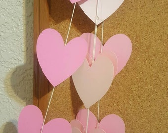 HEART GARLAND--6 FT--Bridal Shower--Baby Shower--Date Night--Photoshoot Backdrop--Any Color--Any Size--Any Length-Any Occassion