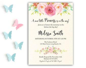 Princess Baby Shower Invitation, Pink Princess Shower Invite, Baby Girl Shower, Princess Baby Shower Invite, Floral Princess Invitation