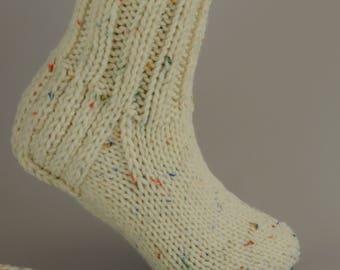 Hand knit wool socks womens, handknit socks, warm socks, knitted socks, cozy socks for women, beige socks, size M