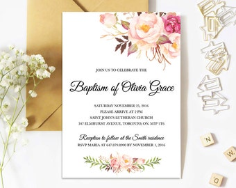 Baptism Invitation, Floral, Girl, Christening, Watercolor, Printed, Printable, Boho