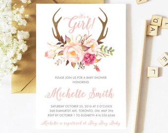 Baby Shower Invitation Girl, Fall Baby Shower Invitation, Floral Baby Shower Invitation, Autumn, Flowers, Antlers, Rustic