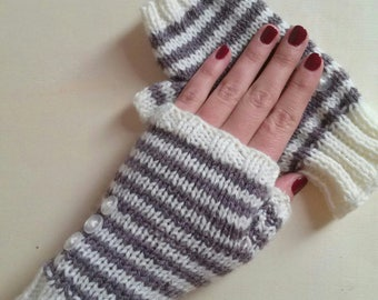 Knitting kit to make your mittens striped circular needles