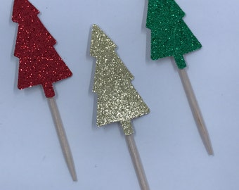 Christmas Cupcake toppers, Christmas trees cupcakes, Holiday party, Christmas party, Vintage Christmas