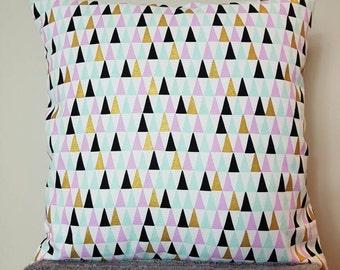 Geometric cushion cover, metallic pyramid cushion, blue pink and gold, metallic cushion cover, 18inch, decirative pillow, throw pillow, sham