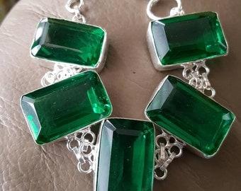 Emerald Green Quartz Bracelet- 8.5 inches!