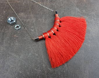 Rope Pendant / Tassel Necklace / Fiber Necklace / Boho Necklace / Tribal Necklace / Bold Necklace / Coral Red Necklace / Rope Necklace
