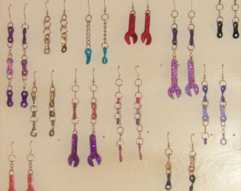Industrial bicycle chain and small wrench style earrings